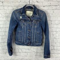 Abercrombie & Fitch Women's Blue Distressed Denim Jean Jacket - Size Xs Photo