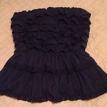 Abercrombie & Fitch Women's Ruffled Strapless Tube Top Navy Blue Sz S Photo