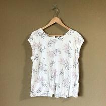 Abercrombie & Fitch Women's Size S Paisley Floral Print Button Back White Blouse Photo