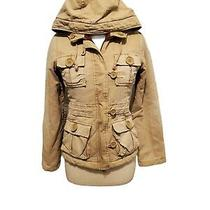 Abercrombie & Fitch Womens Xs Jacket Coat Tan Khaki Canvas Hooded Red Lining Photo