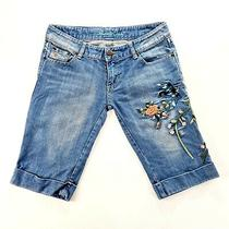 Abercrombie & Fitch Womens Embroidered Blue Floral Jean Shorts Size 30 / 8 Photo