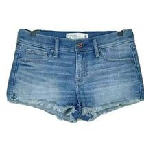 Abercrombie & Fitch Womens Jean Shorts Blue Cut Off Frayed Low Rise Denim 4 Photo