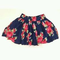 Abercrombie & Fitch Womens Juniors Navy Blue Rose Print Floral Skirt S Small Photo