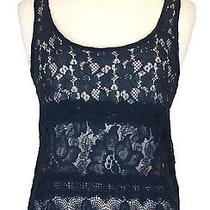 Abercrombie & Fitch Womens Shirt Bailey Tank Top Lace Navy Blue Xs New Nwt 78 Photo