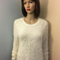 Abercrombie & Fitch Womens Sz M Ivory Fuzzy Pullover Sweater Extra Long Sleeves Photo