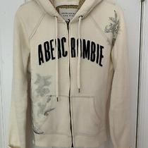 Abercrombie &fitch Womens Vintage Off White Full Zip Sweatshirt Hoodie Large Htf Photo