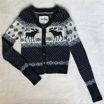 Abercrombie Girls Button Up Blue White Deer Snowflake Cardigan Sweater Szm Soft Photo