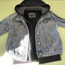 Abercrombie Jean Jacket a&f Hooded Denim Lined Coat Womens Size Small Blue Photo