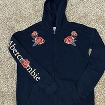 Abercrombie Kids Blue Floral Embroidered Zip Up Hoodie Sz 13/14 Girls Euc Photo