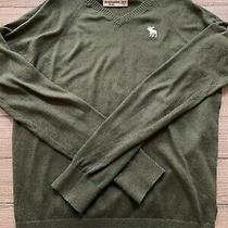 Abercrombie Kids Boys Pine Evergreen v-Neck Long Sleeve Sweater Size 13/14 Euc Photo