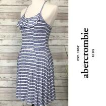 Abercrombie Kids Girls Blue and White Striped Skater Dress Ruffle Size 9/10 Photo