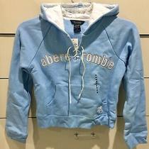 Abercrombie Kids Girls Hoodie Kangaroo Pockets Raised Lettering Blue Small Nwt Photo