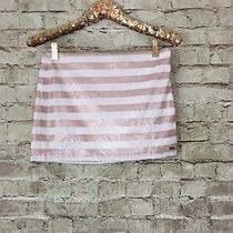 Abercrombie Kids Girls Size 16 Sequined Skirt Mini Blush Pink White Striped Photo
