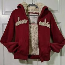 Abercrombie Red Faux Fur Fleece Fuzz Interior Hoodie Size Girls Extra Large Photo
