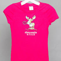 Abercrombie Top M Kids Girls Pink Graphic Tee Solid Short Sleeve Pretty Reindeer Photo