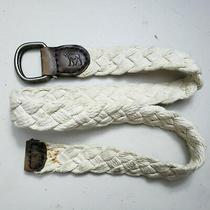 Abercrombie Unisex White Bone Woven Braided Fabric Leather Belt One Size B12-37 Photo