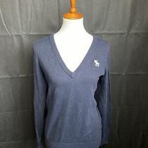 Abercrombie Women's v Neck Cashmere Sweater Medium Black Long Sleeve Photo