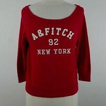 Abercrombie Womens Soft Cotton Blend 3/4 Sleeve Off Shoulder Red Sweatshirt S Photo