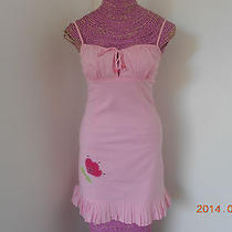 Abs Allen Schwartz Empire Waist Pink Stretch Keyhole Ruffle Detail Petite Dress  Photo