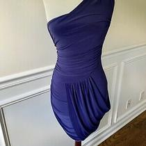 Abs Allen Schwartz Ruched Purple Blue One Shoulder Bodycon Cocktail Dress Xs 0 Photo