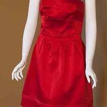 Abs Allen Schwartz Satin Strapless Red Cocktail Dress - Size 6 Photo