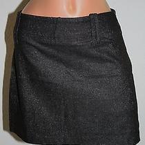 Abs by Allen Schwartz Black Silver Metallic Mini Skirt Size 10 Photo