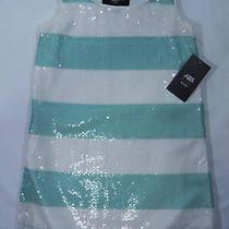 Abs Girls by Allen Schwartz Girls 8 Aqua Sequin Striped Kids Dress Nwt Photo