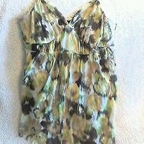 Abstract Green and Yellow Adjustable Straps Flowy Tank Photo
