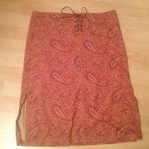Abstract Orange  Red Paisley Rust Leather Tie Fake Suede Skirt Gypsy Rampage M Photo