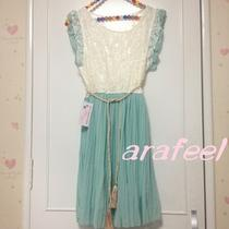 Accordion Pleats Skirt Dress Lace Tassel Belt Ruffle Floral Mint Green Arafeel Photo