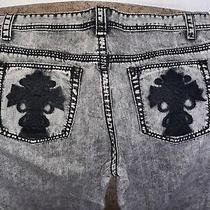 Acid Wash Victorian Cross Jeanssize 38 X 34grey/black/off White Photo