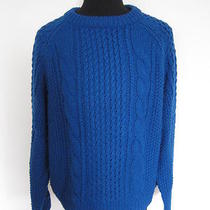 Acne Chunky Cable Knit Sweater Blue Sz S Photo