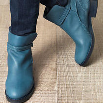 Acne Clover Italy Blue Buckled Wrap Strap Leather Suede Ankle Boots 38 7.5 8 Photo