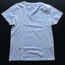 Acne Jeans Mens Solid White Deep v-Neck Designer Classic Fit T-Shirt Size Large Photo