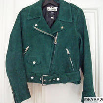Acne Mape Green Suede Motorcycle Jacket  34 Photo