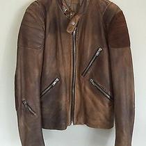 Acne Mens Leather Jacket Oliver Tan Sweden Studios 54 Biker Coat Brown Designer Photo