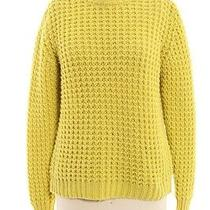 Acne Neon Yellow Cable Knit Crew Neck Sweater Sz M Photo