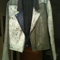 Acne Painted Leather Moto Bomber Jacket Sz 40 Photo