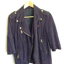 Acne Smith Blue Suede Biker Jacket Photo