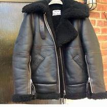 Acne Studios Aviator Fur Leather Jacket Size 8 (34) Black Photo