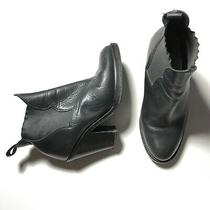 Acne Studios Black Leather Star Western Chelsea Boots Heel Size 38 Photo
