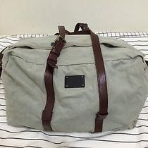 Acne Studios Canvas Leather Trimmed Medium Duffle Bag in Stone Grey Sweden Photo