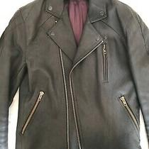 Acne Studios Classic Gasoline Black Leather Zip Biker Jacket Size 50/m Photo