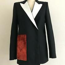 Acne Studios Deana Black Wool & Python Lapel Jacket Red Velvet Pocket Uk8 1435 Photo