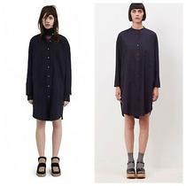 Acne Studios Esloane Dry Pop Oversize Shirt Dress Long Sleeve Sz 36 Us 0-Xs Navy Photo