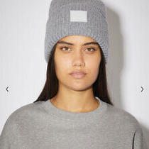 Acne Studios -Face Patch Ribbed Beanie -Unisex - Wool - One Size Gray New Tag Photo