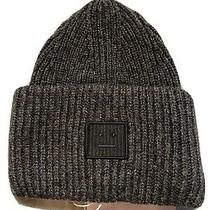 Acne Studios-Face Patch Ribbed Beanie-Unisex- Wool-One Size Drak Gray New Tag Photo