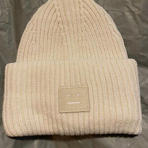 Acne Studios -Face Patch Ribbed Beanie -Unisex - Wool -One Size White New Tag Photo