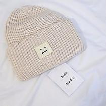 Acne Studios Knit College Face Beanie Hat Beige Nyc Photo