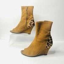Acne Studios Microsuede Wedge Peep Toe Tan Booties Size 8 Leopard Print  Photo